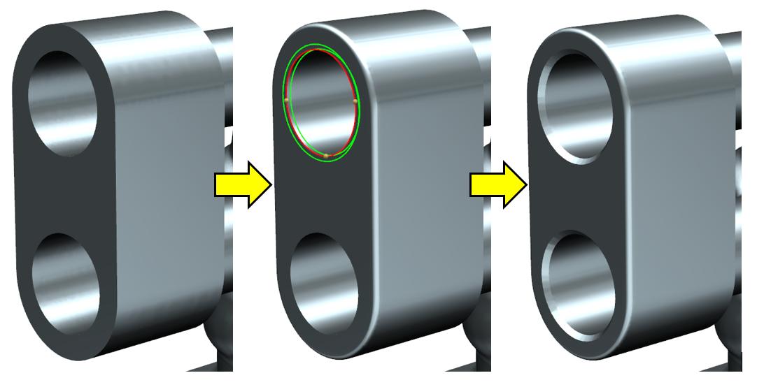 Rys. 5. Dodawanie zaokrągleń ifaz na modelu uproszczonym.