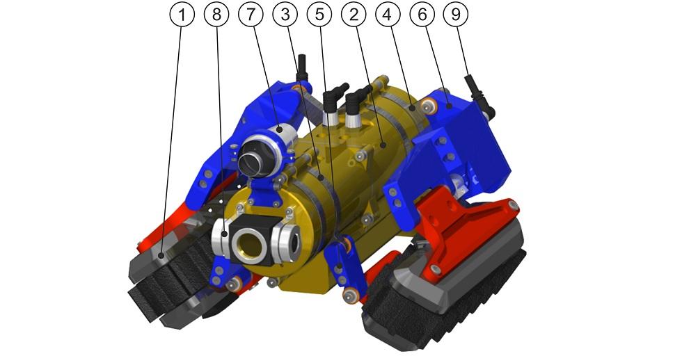 Fot. AGH /Model 3D: 1– gąsienicowy moduł napędowy; 2– korpus; 3– przedni pierścień obrotowy; 4– tylny pierścień obrotowy; 5– ramię przednie; 6– ramię tylne; 7– kamera; 8– oświetlenie; 9– złącze wodoszczelne