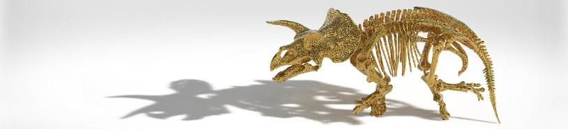 Figura triceratopsa drukowana w3D, jako nowy wymiar dziedzictwa kulturowego, wydruk HP MJF