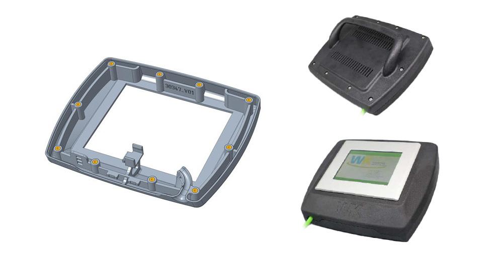 Obudowa wyświetlacza LCD wydrukowana wprzemysłowej technologii druku 3D (HP MJF 3D)