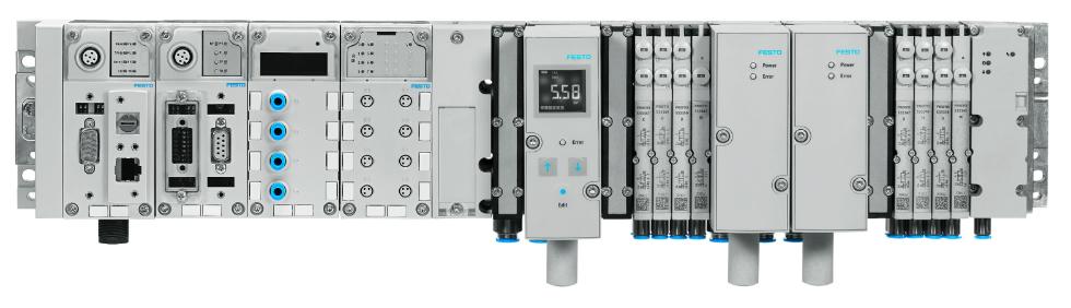 Ilustracja: Terminal elektryczny CPX wpołączeniu zwyspą zaworową zapewniający korzystanie ze standardu OPC-UA