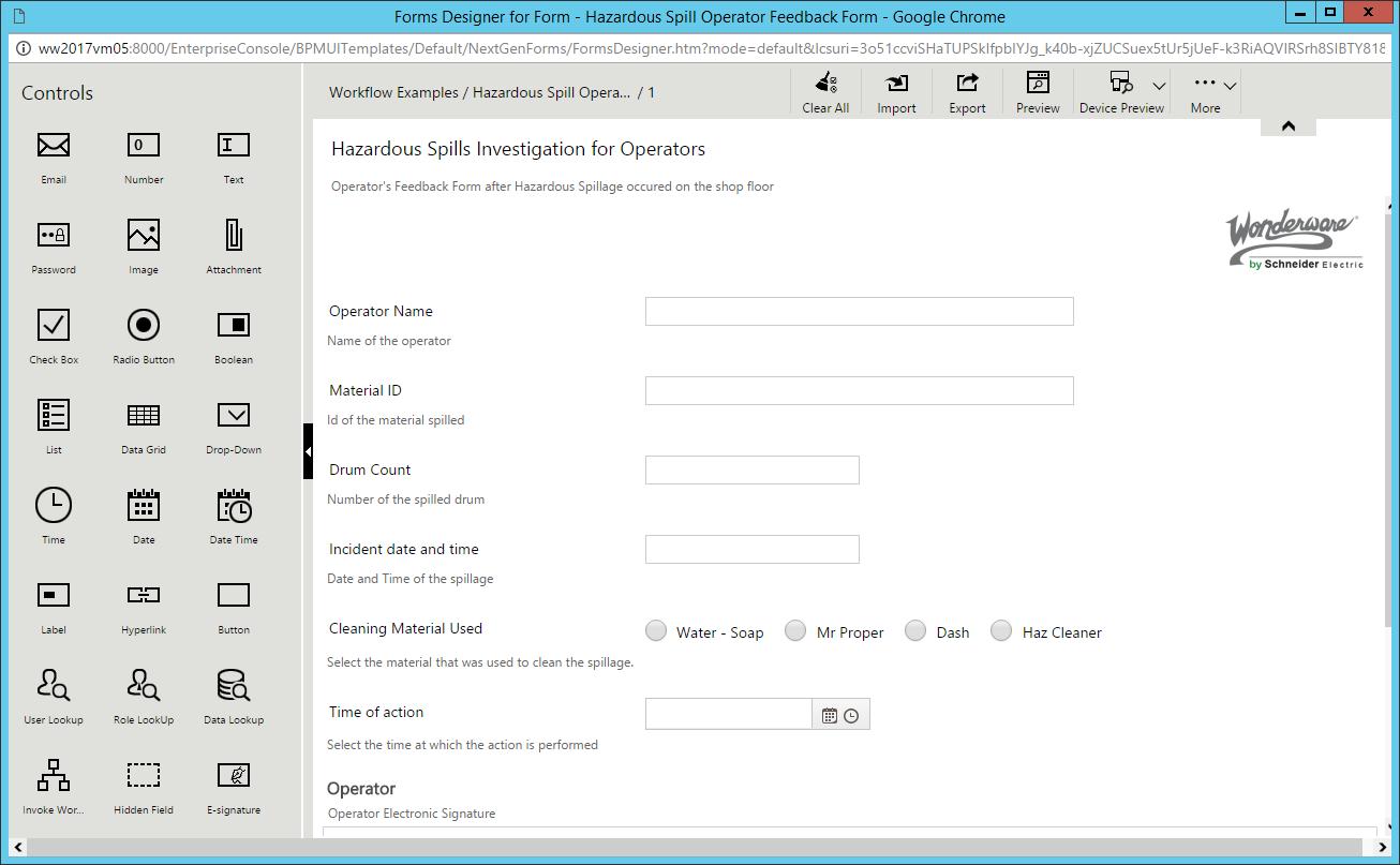 Edytor Form Designer woprogramowaniu Wonderware Skelta BPM