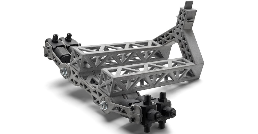 Złożony konstrukcyjnie element linii lakierniczej drukowany wMJF przez Ficep S3L