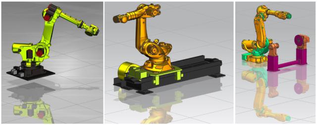 Rys. 2. Przykładowe rozwiązania kinematyczne robotów frezujących