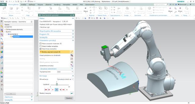 Rys. 5. Symulacja robota KUKA – grawerowanie wNX CAM Robotics