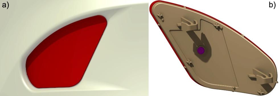 Rys. 1. Tylny odblask samochodowy: a) odblask ze zderzakiem – widok od tyłu samochodu, b) widok od tyłu odblasku
