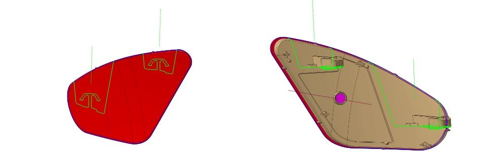Rys. 16. Ukończony odblask tylny zzaznaczoną linią podziału formy (dla każdego elementu), liniami podziału suwaków oraz kierunkiem otwierania formy (dla każdego elementu) ikierunkami ruchu suwaków