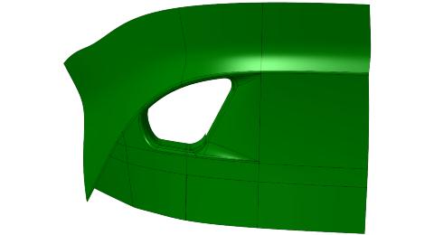Rys. 4. Zewnętrzna powierzchnia tylnego zderzaka samochodu (powierzchnia Azderzaka)