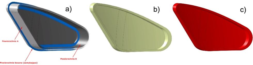 Rys. 7. Tworzenie bryły poprzez przygotowanie powierzchni Bipowierzchni zamykających: a) powierzchnie przygotowane do przycinania, b) przycięte powierzchnie tworzące formę zamkniętą, c) gotowa bryła utworzona na podstawie zamkniętej powierzchni