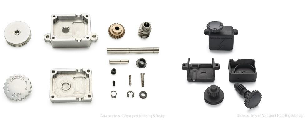 Elementy produkowane przez Aerosport wCNC vs. odpowiedniki drukowane wMJF (zredukowana ilość części)