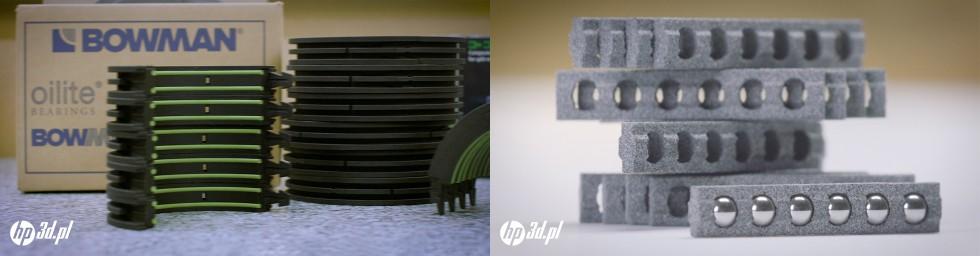 Łożyska produkowane przez Bowman International -materiał PA11, technologia HP MJF 3D