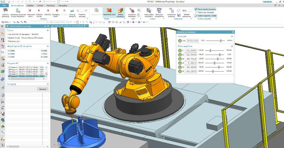Rys. 1Symulacja pracy robota wNX CAM Robotics