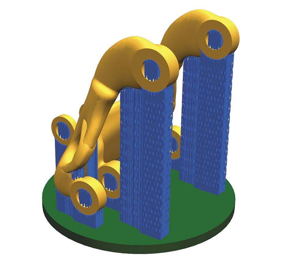 Ilustracja 1. Przykład projektowania podpór wwydruku 3D (NX CAD/CAM)