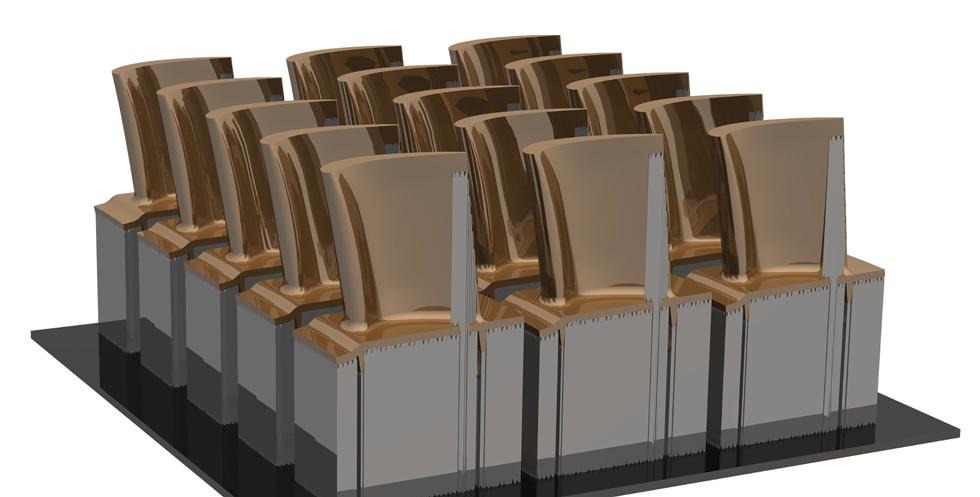 Ilustracja 2. Przykład rozkładu przedmiotów drukowanych 3D zmetalu – nesting 2D (NX CAD/CAM)