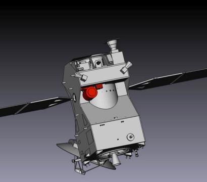 Położenie kamery CaSSIS na sondzie ExoMars Trace Gas Orbiter. Credit: ESA/University of Bern. Kamera CaSSiS znajduje się na spodzie sondy zwróconej wstronę powierzchni Marsa. Położenie kamery na orbiterze jest pokazane na powyższym rysunku.