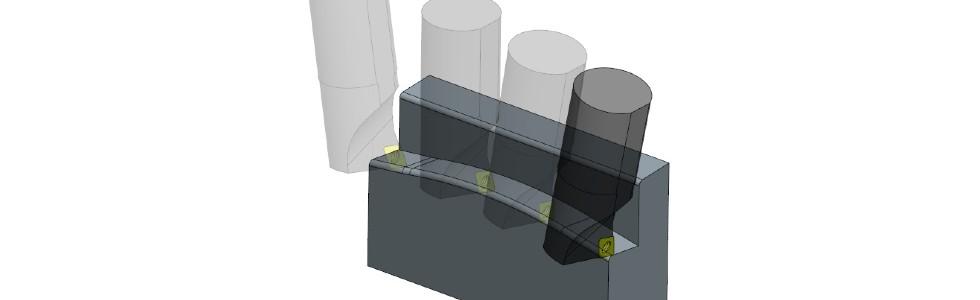 Rys. 3. Kształtowanie powierzchni metodą ciągłego cięcia ze stałym kątem przyłożenia