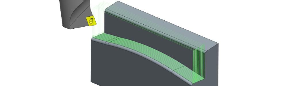 Rys 4. Przykładowa strategia obróbki zużyciem standardowego wytaczadła tokarskiego