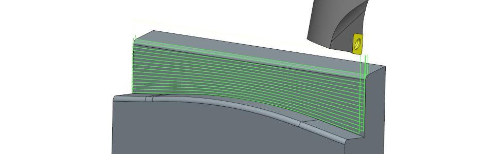 Rys 5. Przykładowa strategia obróbki zużyciem standardowego wytaczadła tokarskiego