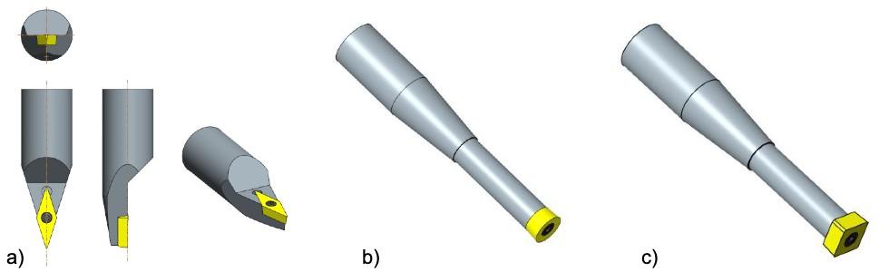Rys 6. Przykłady narzędzi specjalnych zkrawędzią tnącą usytuowaną odpowiednio względem osi oprawki narzędziowej. a) Centralnie – np. do zastosowania wścieżkach zCAM jako odpowiednik freza kulistego pracującego prostopadle do powierzchni obrabianej b) Centrycznie – np. do zastosowania wścieżkach zCAM jako odpowiednik freza palcowego pracującego narożem (nie wymaga pozycjonowania osi S) c) Kilkukrawędziowe – przykład narzędzia zcentrycznie umieszczoną prostokątną krawędzią tnącą do wykorzystania wobróbce detalu zczterech stron bez konieczności indeksacji osi S
