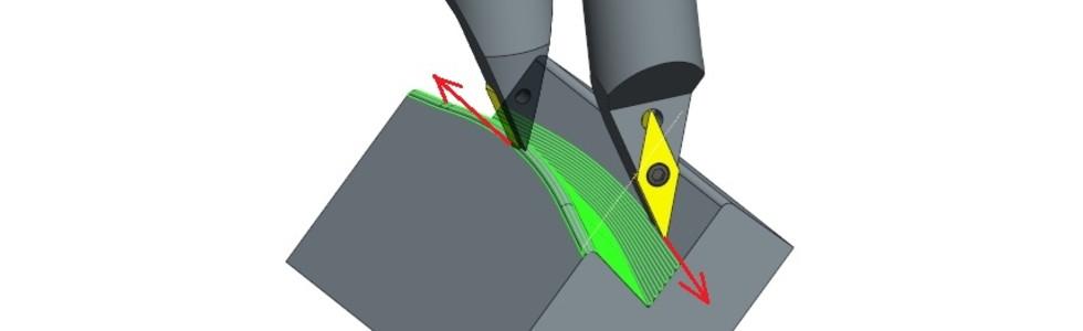 Rys. 7a) Wykorzystanie standardowej ścieżki CAM dzięki użyciu specjalnego trzonka, który umieszcza krawędź tnącą płytki wodpowiedniej pozycji względem osi wrzeciona. Symultaniczna obróbka 4-ro lub 5-cio osiowa zindeksacją 6-stej osi wrzeciona