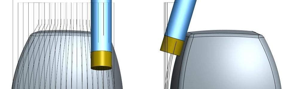 Rys. 7c) Przykład obróbki specjalnym narzędziem zwykorzystaniem typowej ścieżki zCAM zpłynną kontrolą kąta przyłożenia poprzez 4-tą oś. Konstrukcja narzędzia izastosowanie odpowiedniej strategii nie wymusza kontroli osi Swrzeciona do ustawienia odpowiedniego kierunku płaszczyzny natarcia względem wektora prędkości narzędzia