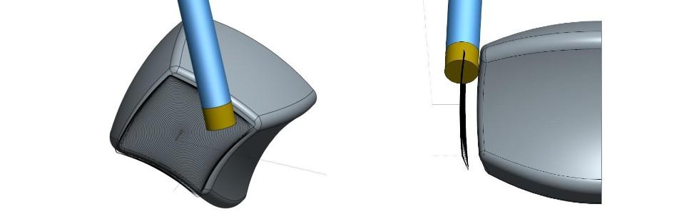 Rys. 7e) Helikalna strategia zpłynną kontrolą kąta przyłożenia iodpowiedniego kierunku płaszczyzny natarcia względem wektora prędkości. Dzięki zastosowaniu specjalnego narzędzia płynna kontrola kierunku płaszczyzny natarcia może być realizowana osią obrotową stołu np. Czamiast osią wrzeciona S. Konstrukcja takiego narzędzia sprowadza zagadnienie 6-cio osiowe do zagadnienia 5-cio osiowego