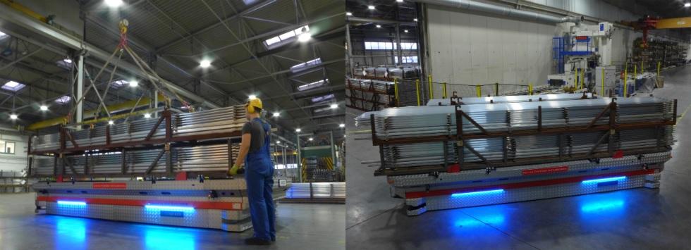 Wózek jest ładowany przez suwnicowych na dwóch stanowiskach załadowczych, znajdujących się za piecami do starzenia aluminium, anastępnie po wybraniu przez operatora na docelowej lokalizacji, kosze wypełnione profilami aluminiowymi są transportowane do stanowisk rozładowczych wanodowni ipakowni.