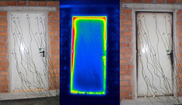 Fot.1: Godz. 8.37: na początku badania widać blask ognia prześwitujący pod dolną krawędzią skrzydła. Fot.2: Godz. 9.02: na zdjęciu wykonanym wpodczerwieni po 25 minutach można rozpoznać temperaturę na powierzchni drzwi. Nie obserwuje się przejścia ognia. Fot.3: Godz. 9.14: Wynik badania po upływie przepisowych 30 minut jest pozytywny. 30 minut upłynęło ogodz. 9.07.