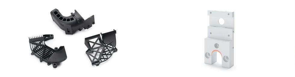 Elementy wydrukowane znylonu PA12 iPA12 CB wtechnologii HP MJF 3D