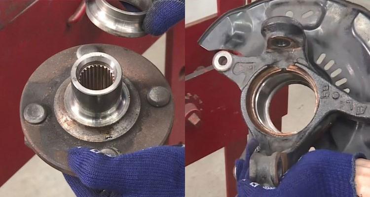 Fot. 4i5: Ważne jest, aby kontrolować położenie piasty izwrotnicy podczas montażu iupewnić się, że wszystkie powierzchnie mające kontakt złożyskiem zostały wcześniej oczyszczone.