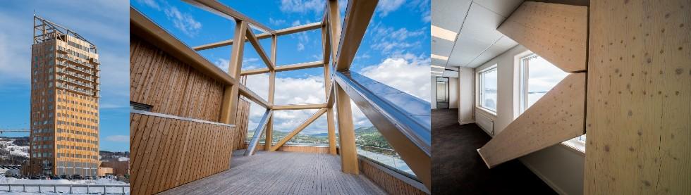 Najwyższy aktualnie wieżowiec drewniany na świecie -Mjøstårnet – budynek mierzy 85,4 mima 18 pięter.