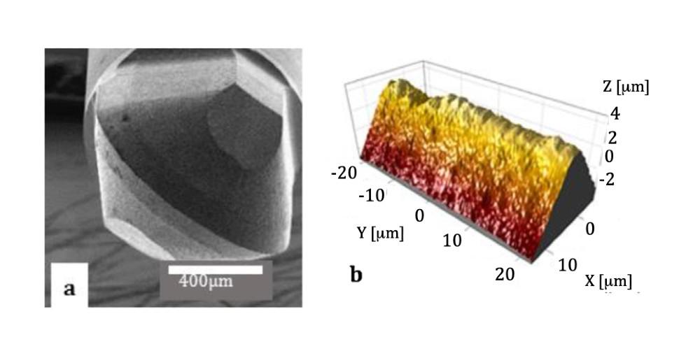 Rys 1: Zdjęcie SEM frezu zcBN (a) iobraz krawędzi zmikroskopu konfokalnego (b)