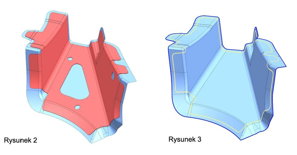 Rysunek 2: Przykładowa część zprzygotowaną powierzchnią roboczą Rysunek 3: Powierzchnia robocza wraz zprzygotowanymi krzywymi granicznymi