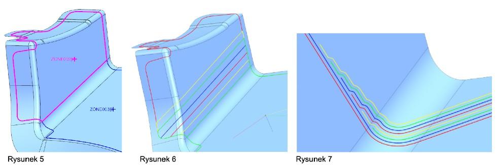 Rysunek 5: Strefy utworzone przy pomocy Zone Based Design Rysunek 6: Region przejścia pomiędzy strefami Rysunek 7: Przekrój przez region przejścia pomiędzy strefami