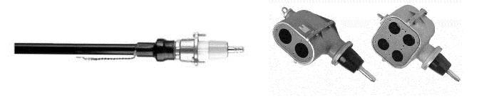 Fot. 5/Głowica kablowa konektorowa SN ze stożkiem zewnętrznym wraz zizolatorami przepustowymi (źródło: www.pfisterer.com)