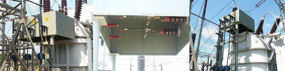 Fot. 8/Przejście zizolatorów porcelanowych na izolatory ze stożkiem umożliwiające przyłączenie mostu kablowego SN zakończonego głowicami konektorowymi (źródło: Euromold)