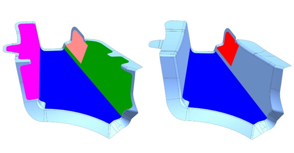 Rysunek 9: Porównanie elementu zaprojektowanego za pomocą metodyki Zone Based Design, aMulti-Ply Design