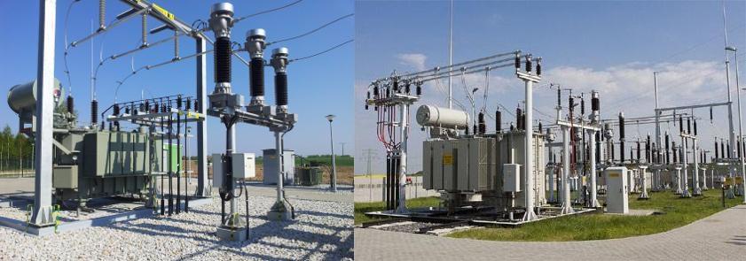 Fot. 3/Widok mostu szynowo-kablowego SN na izolacji wsporczej bez odłącznika (źródła: zlewej -Eltel Networks Toruń S.A., zprawej -Tauron Dystrybucja Sp. zo.o.)