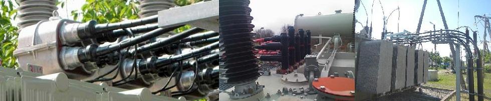 Fot. 4/Widok mostu kablowego SN zgłowicami konektorowymi ze stożkiem zewnętrznym (z lewej, źródło: www.pfisterer.com) oraz zgłowicami ze stożkiem wewnętrznym (źródło: środek -Euromold, zprawej – Gogół K.)