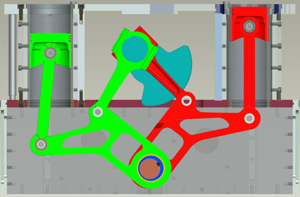 Przekrój poprzeczny silnika Szymkowiaka ze zmiennym stopniem sprężania