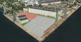 Nowoczesna płyta do budowy i wodowania dużych jednostek powstaje na Wyspie Ostrów