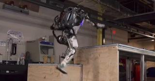 ATLAS Boston Dynamics skacze po drewnianych skrzyniach!