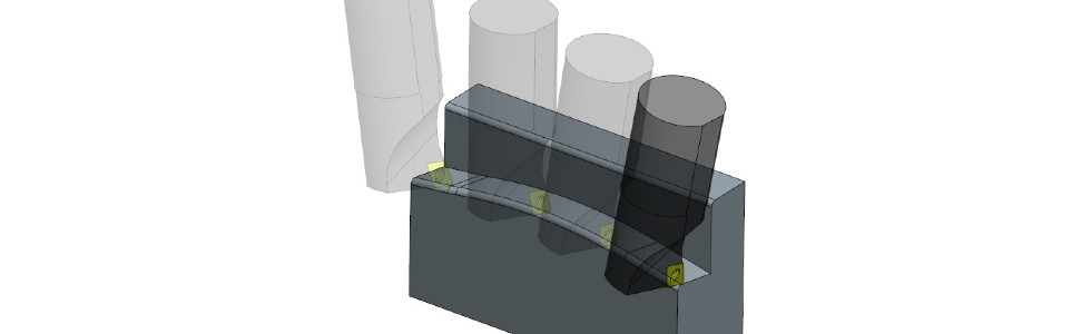 Рис. 3. Формование поверхности непрерывным резанием с постоянным задним углом.