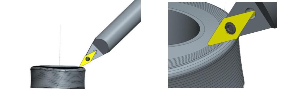 Рис. 7b) Использование стандартной спиральной траектории из среды CAM таким образом, чтобы угол плоскости режущей кромки контролировался, например, осью наклона 5-осевого фрезерного стола, и соответствующим направлением передняя плоскость к вектору скорости инструмента контролируется индексированием оси шпинделя S и одновременным управлением поворотной осью стола станка.