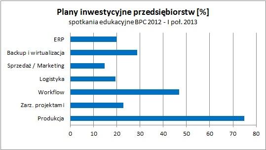 Plany inwestycyjne uczestników Synergii Systemów IT, 2012 – I poł. 2013