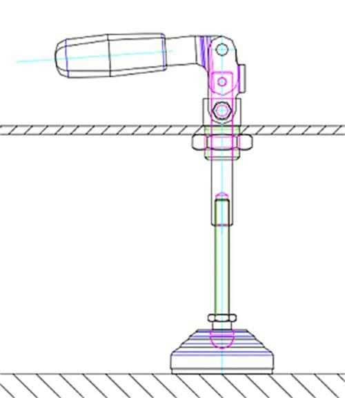 Rys. 3. Układ zbudowany znapinacza GN 843.1 istopy wahliwej LV.A umożliwia posadowienie na posadce urządzenia mobilnego lub uniesienie maszyny wcelach serwisowych