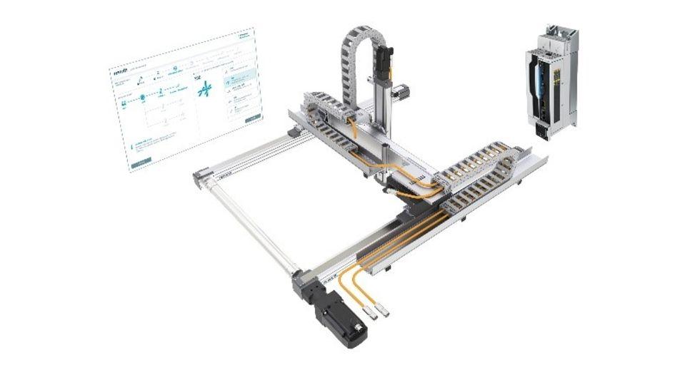 Wszystko wjednym pakiecie: fabrycznie zmontowany system wieloosiowy zsilnikiem, okablowaniem iakcesoriami oraz odpowiednim serwonapędem ctrlX wraz zkontrolerem. /Źródło obrazka: Bosch Rexroth AG