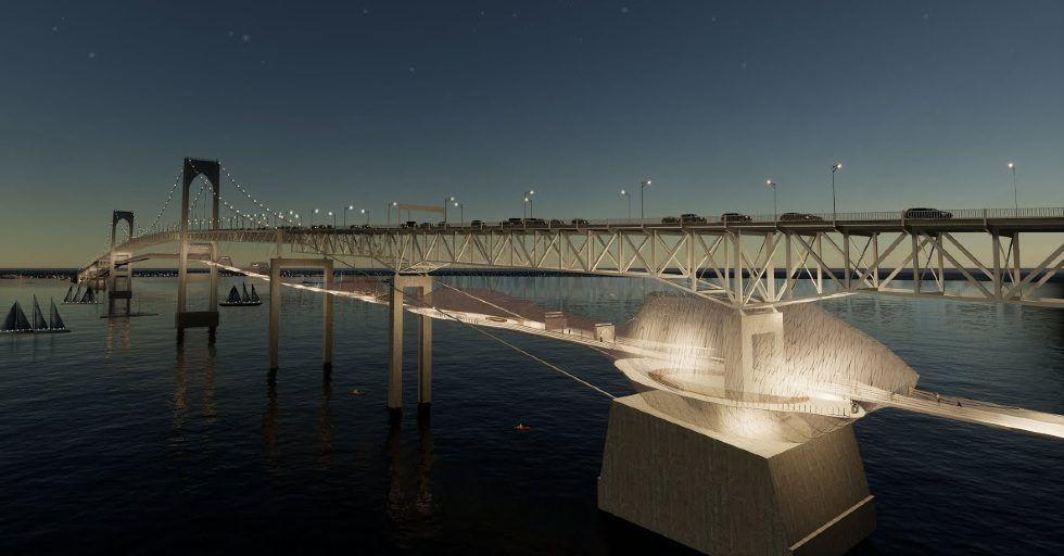 Drukowana trasa rowerowa pod mostem Pell Bridge?