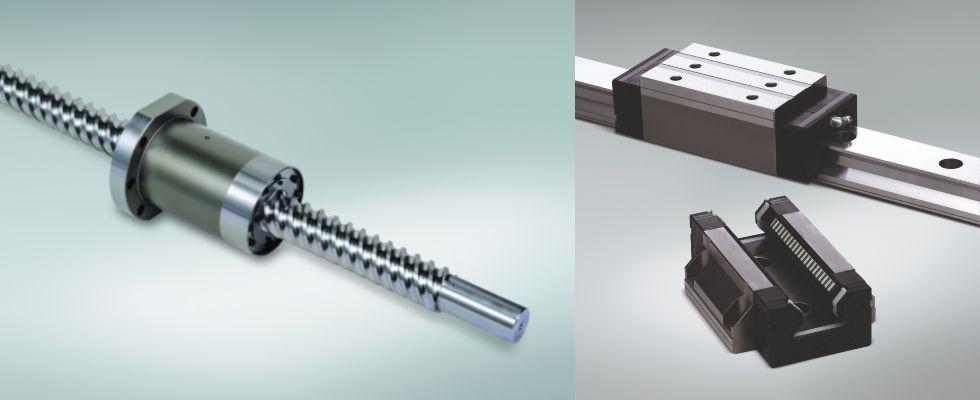 O lewej: Śruby kulowe NSK HTF SRD wykorzystują innowacyjny system recyrkulacji zdeflektorem końcowym, wcelu uzyskania bardzo wysokich prędkości pracy. Seria prowadnic wałeczkowych NSK RA oniskim współczynniku tarcia idużej obciążalności zapewnia wysoką sztywność niezbędną wobrabiarkach, takich jak Euromac XT  Zdjęcie: NSK